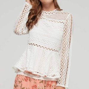 Endless Rose White Lace Peplum Top Blouse Crochet